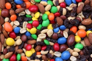 Trail mix made of nuts, fruit, and candies.